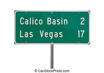 Las Vegas Highway Sign Isolated