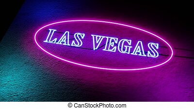Las Vegas neon sign outside casino for gambling and tourism in America - 4k