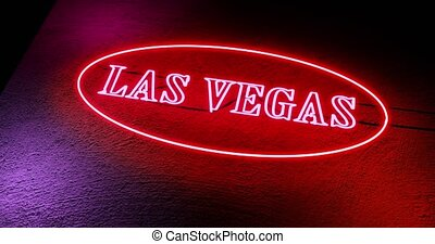 Las Vegas neon sign shows casino for gambling and tourism in America - 4k