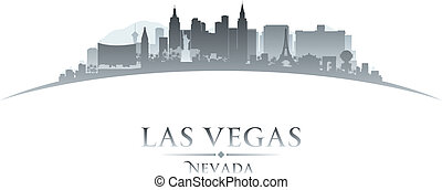 Las Vegas Nevada city skyline silhouette white background -...