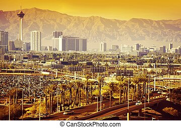 Las Vegas Nevada Cityscape in One Hot Summer Day.
