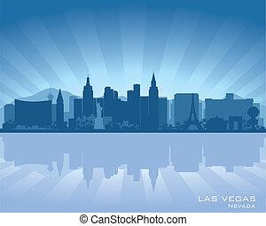 Las Vegas, Nevada skyline illustration with reflection in...