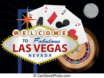 las vegas night - illustration of las vegas signal with...