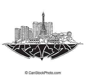 Las Vegas, NV Skyline. Black and white vector illustration...