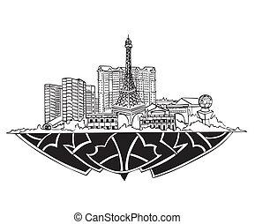 Las Vegas, NV Skyline. Black and white vector illustration...