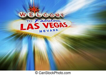 Las Vegas Rush. Famous Las Vegas Entrance Sign in Motion Blur.