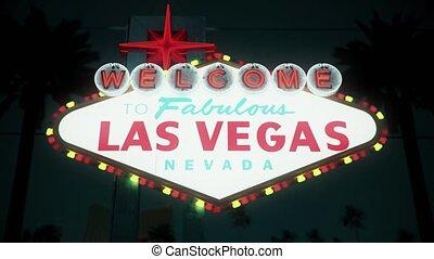 Las Vegas Sign At Night, Centered Crash Zoom
