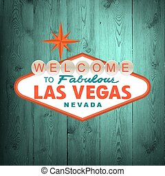 Las Vegas Sign. Vector - Las Vegas Sign on wood. Vector...