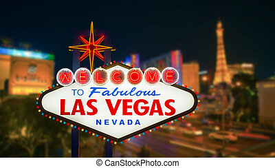Las vegas sign with blur strip road at night background