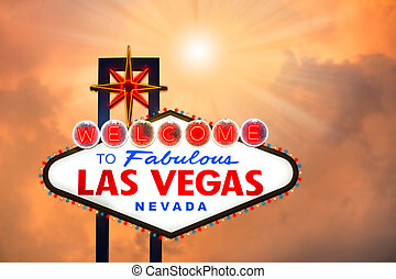 Las vegas sign with cloudscape background