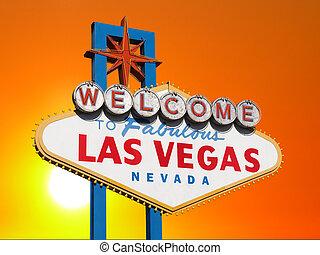 Las Vegas Sign with Sunset Sky