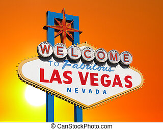 Las Vegas Sign with Sunset Sky - Las Vegas welcome sign with...