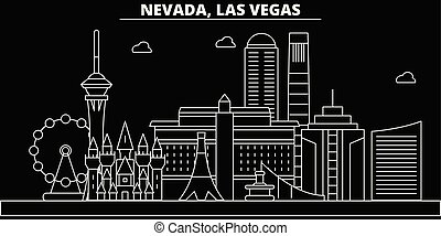 Las Vegas silhouette skyline. USA - Las Vegas vector city, american linear architecture, buildings. Las Vegas travel illustration, outline landmarks. USA flat icons, american line banner