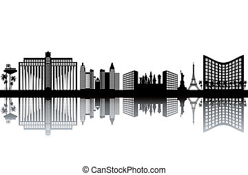 Las Vegas skyline - black and white vector illustration