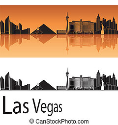 Las Vegas skyline in orange background in editable vector...