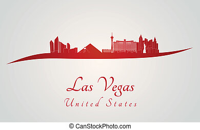 Las Vegas skyline in red and gray background in editable vector file
