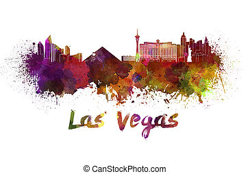 Las Vegas skyline in watercolor