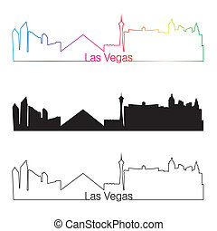 Las Vegas skyline linear style with rainbow