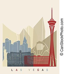 Las Vegas skyline poster in editable vector file