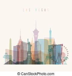 Las Vegas skyline poster - Transparent styled Las Vegas...
