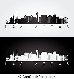 Las Vegas skyline silhouette - Las Vegas USA skyline and...