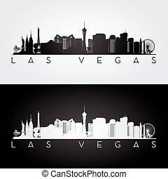 Las Vegas skyline silhouette - Las Vegas USA skyline and...