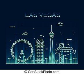 Las Vegas skyline vector illustration linear - Las Vegas...