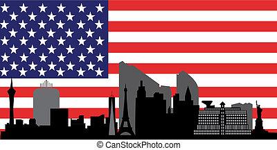 las vegas skyline with flag
