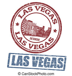 Las Vegas stamps - Set of stylized grunge stamps of the Las...