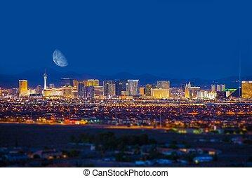 Las Vegas Strip and Moon - Las Vegas Strip and the Moon. Las...