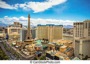 Las Vegas Strip in Nevada on a sunny day