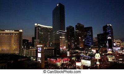 Las Vegas Strip view Closeup at Night of Aria and...