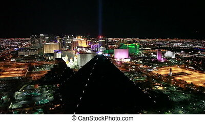 Las Vegas Strip view of Luxor Hotel at Night