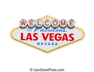 Las Vegas Welcome Sign Diamond Isolated With Clipping Path -...