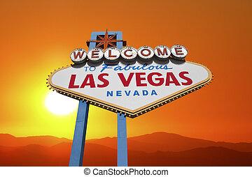 Las Vegas Welcome Sign with Desert Sunset - Las Vegas...