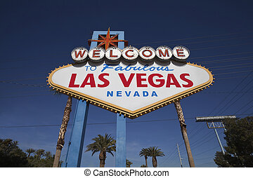 Las Vegas welcome sign with palm trees