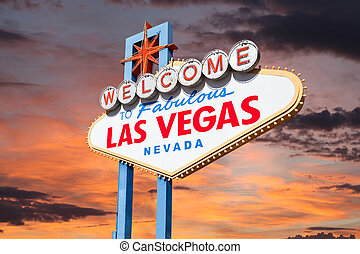 Las Vegas Welcome Sign with Sunrise Sky