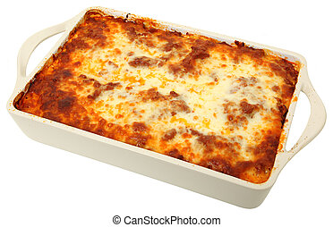 Lasagna Cassarole Whole - Lasagna uncut in baking dish over...