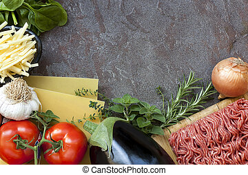 Lasagna Ingredients Food Background