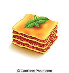 Lasagna isolated on white vector