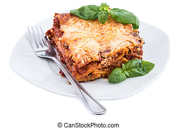 Lasagna on a plate (white background)