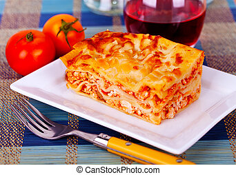 lasagna plate on a tabletop