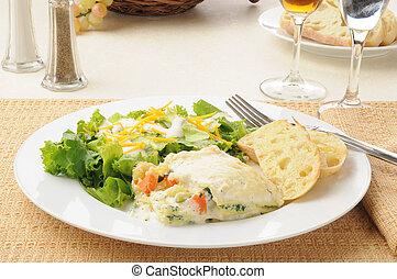 lasagna vegetal, e, salada
