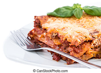 lasagne, fehér, darab, elszigetelt