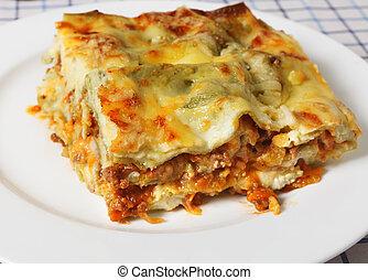 Lasagne verde slice - A slice of lasagne verde (spinach...