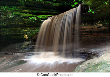 Starved Rock State Park - Lasalle Falls cuts through a...