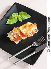 lasanha, com, picado, peru, carne, e, tomates