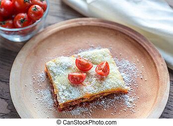 lasanha, com, tomates cereja