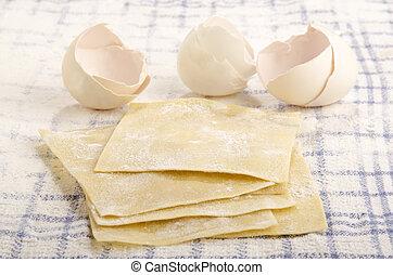 lasanha, folhas, ligado, um, toalha cozinha