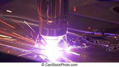 laser, étincelles, -, 4k, découpage, métal
